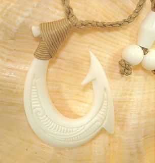 Carved Hei Matau Beef Cow Bone Fish Hook Pendant 27 Adjustable
