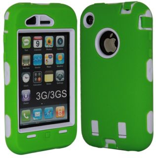 Deluxe Green and White 3Piece Hard Case Cover Skin for iPhone 3G 3GS