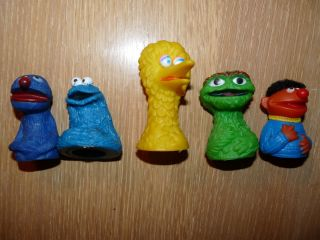 Vintage Sesame Street Finger Puppets Grouch Big Bird Cookie Monster