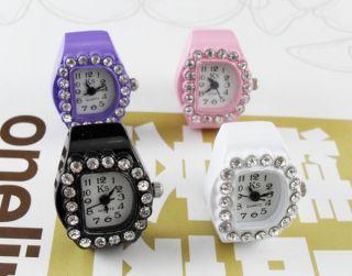 Womens D Shape Quartz Finger Ring Watch Wrist Watches Clock