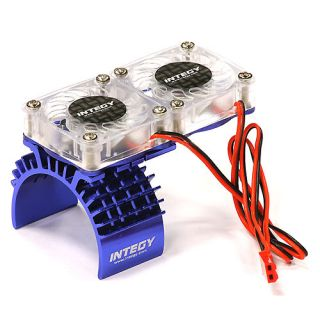 Integy Twin Fan Motor Heatsink Traxxas Slash 4x4 Blue T8534BLUE