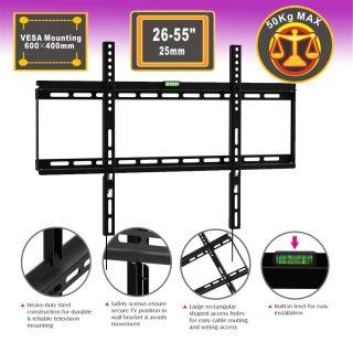 "26 55"" 110lb Flat Panel Screen LCD LED Plasma TV Wall Mount Bracket"