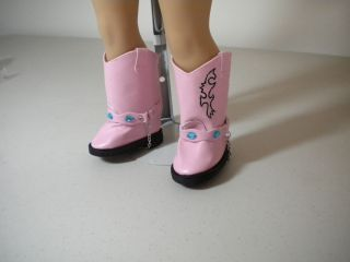 Doll Clothes Fit American Girl 18 Pink Western Boots Fancy