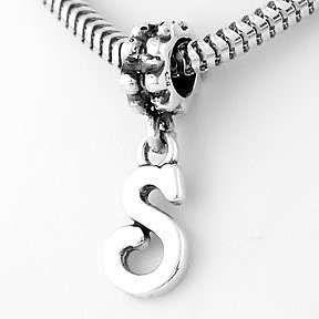 Sterling Silver Fancy Letter Initial s Dangle Bead