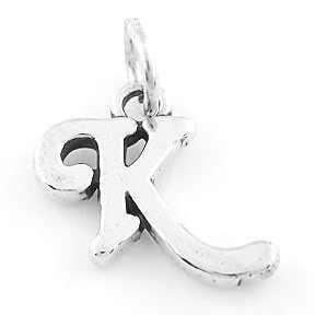 Sterling Silver 925 Fancy Letter K Charm Pendant