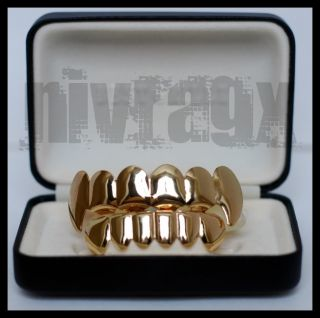 14k Gold Grillz Teeth Vampire Fangs Top Bottom Set Combo Mouth Grills