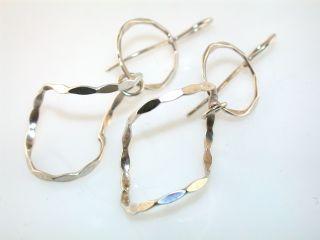 Designer Finola Hammered Drop Sterling Silver Earrings