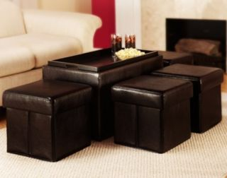 Espresso Coffee Table Storage Faux Leather Bench with 4 Folding