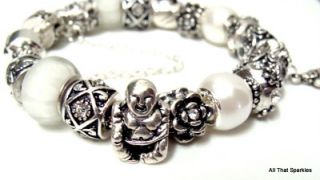 Antique Silver White Buddha Crystal Bead Charm Bracelet