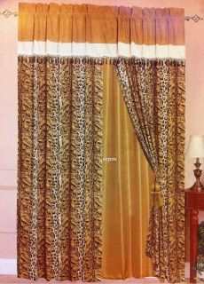 Faux Fur Animal Print Brown Black Tiger Leopard Suede Window Curtain