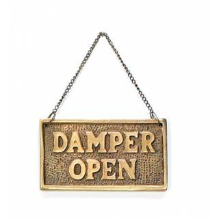 Antique Brass Sign Damper Open Damper Close Fireplace