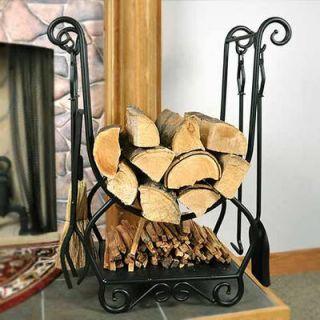 Log Fire Wood Holder Firewood Rack Fireplace Tools Broom Shovel Poker