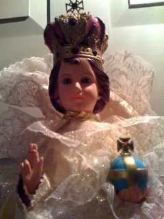 Spectacular Large Vintage Infant of Prague Statue w Gorgeous Gown
