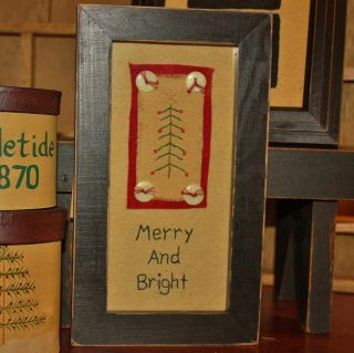 stitchery❄primitive by Kathy❄rustic Wood Frame Glass Front