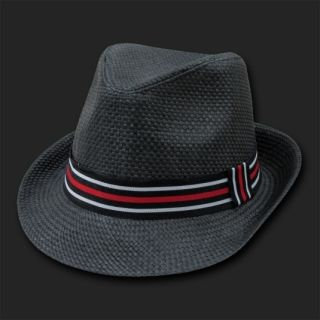 Black Straw Woven Fedora Hat Hats Fedoras Size L XL