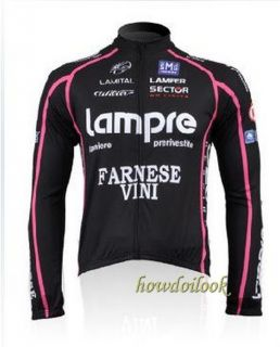 2010 Lampre Farnese Long Sleeve Cycling Jersey Bike Bicycle Shirt