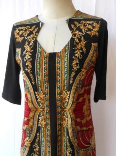 Eva Varro Diamond Neck Napoli Black Gold Print Tunic L NWT $138