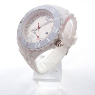 White FASHION Silicone Rubber Quartz Wrist Watch Unisex With Calendar