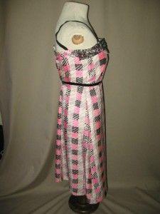 Tracy Feith Silk Cotton Spaghetti Strap Dress Pink Black White Plaid