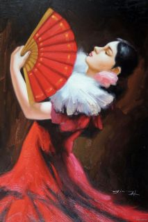 Spanish Flamenco Dancer Fan Red Dress Young Brunette 24x36 Canvas Oil