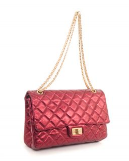 Chanel 2 55 227 Reissue Dark Red Fuschia Metallic Flap Bag
