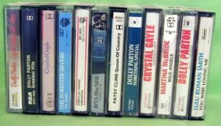 12 Female Country Cassettes Lot 25 4 Dolly Parton 2 Crystal Gayle