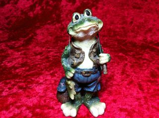 Unique FISHERMAN FROG Figurine Fish Basket Fishing Pole Blue Gift