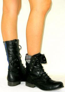 Up Combat Military Back Zipper Flat Mid Calf Riding Cuff Boots
