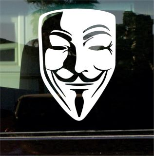 for Vendetta Guy Fawkes Mask 8 inch Vinyl Decal Sticker