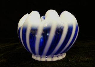 Fenton Art Glass Cobalt Blue Spiral Optic Rose Bowl Vase