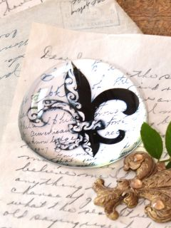 Chic Fleur de Lis Crystal Paper Weight Home Office Decor