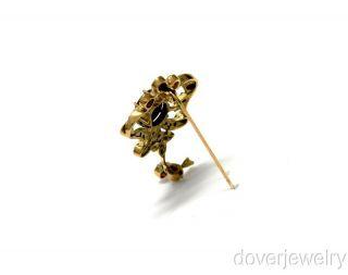 Antique Retro Fleur de Lis 2 20ct Diamond Gold Opal Pin Brooch