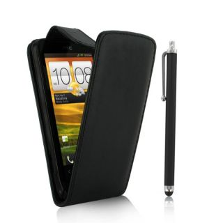 Leather Flip Case Cover for HTC One V Screen Protector Big Stylus