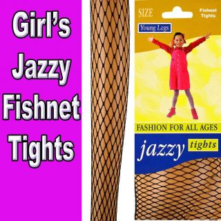 Girls Jazzy Fashion Fishnet Tights Black 11 13 Years