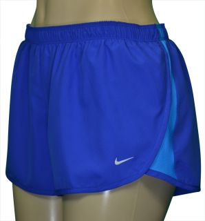 Nike Womens Dri Fit Fundamental Road Race Running Shorts Blue