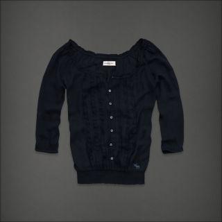 Abercrombie Fitch Women Navy Blue Sheer Ruffle Top Shirt Medium