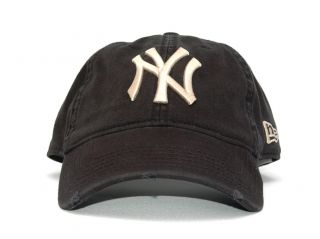 New Era NY Yankees Distressed Baseball Cap Hat Black Color