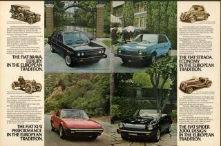 1980 print ad fiat spider x1 9 brava strada 2 page vintage advertising