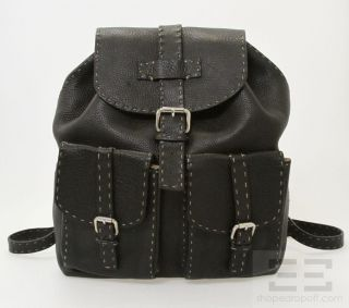 Fendi Selleria Black PEBBLED Leather Topstitched Drawstring Backpack
