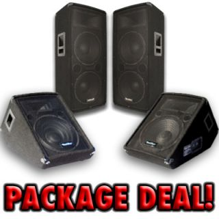 PAIR DUAL 12 PA/DJ SPEAKERS & Pair 12 Floor Monitors