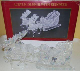 Acrylic Sleigh with Two Reindeer Christmas Display