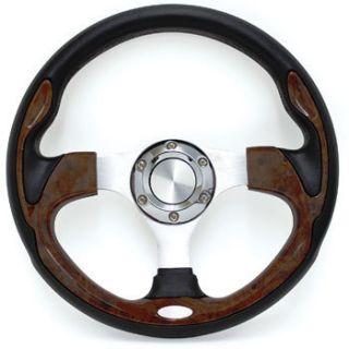 EZGO Golf Cart Steering Wheel Wood Grain Regal Burl and Black with