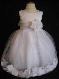 Beautiful White on White Rose Petal Flower Girl Dress 2T 3T 4T