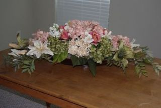 Silk Flower Arrangement Wooden Boat Hydrangeas Lily