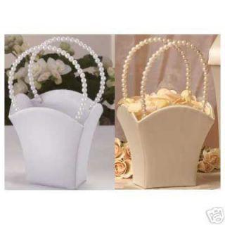 Satin Wedding Flower Girl Basket with Pearl Handle