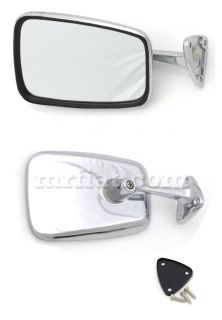 Fiat 124 Spider Chrome Side View Mirror Trapezoid New