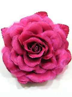 Large Fabric Rose Flower Brooch Pin CDA4 Pink 4187