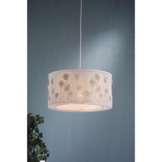 Light Drum Pendant Lighting Fixture, White, Dandelion Printed Fabric