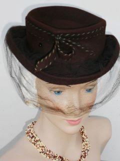 Ladies Hat Vtg 30 40s Net Veil Wool WWII Derby New York Creations