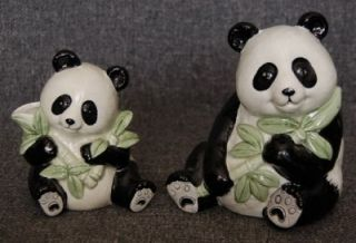 Adorable Vintage Fitz Floyd Sitting Panda Bear with Bamboo Figurine